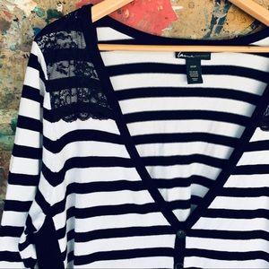 Lane Bryant Black & White Cardigan Sweater Lace